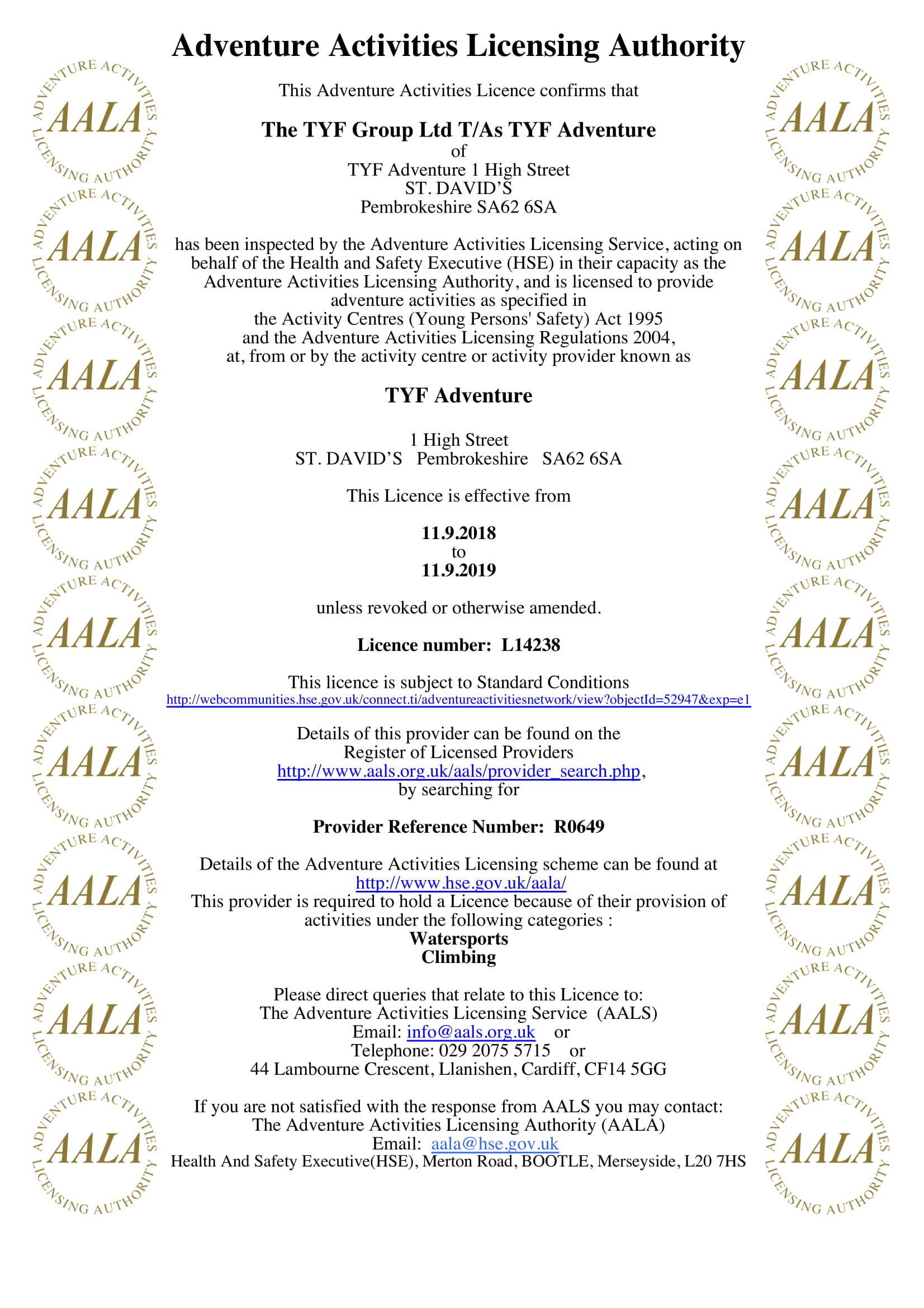 TYF AALA Licence