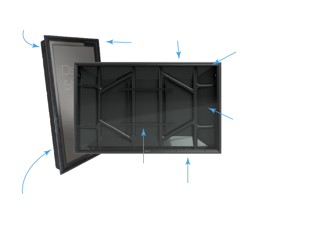 The Display Shield weatherproof display enclosures and cabinets diagram and schematic with fans, internal mount, vents, and more