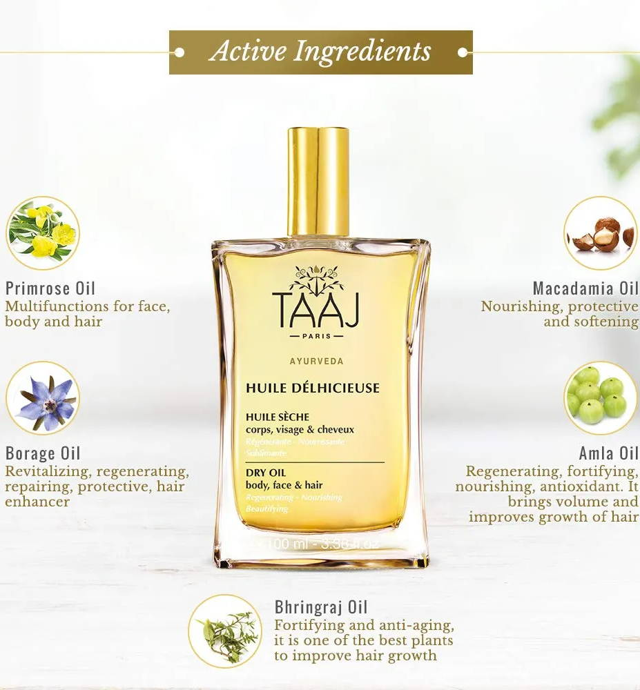Face, body and hair oil with addictive scent