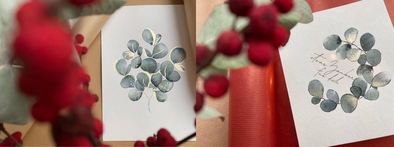 Watercolor Eukalyptus weihnachtlich