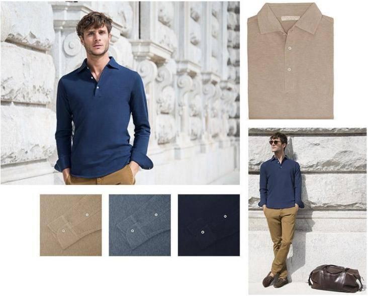 Luca Faloni long sleeve polo shirt made in Italy