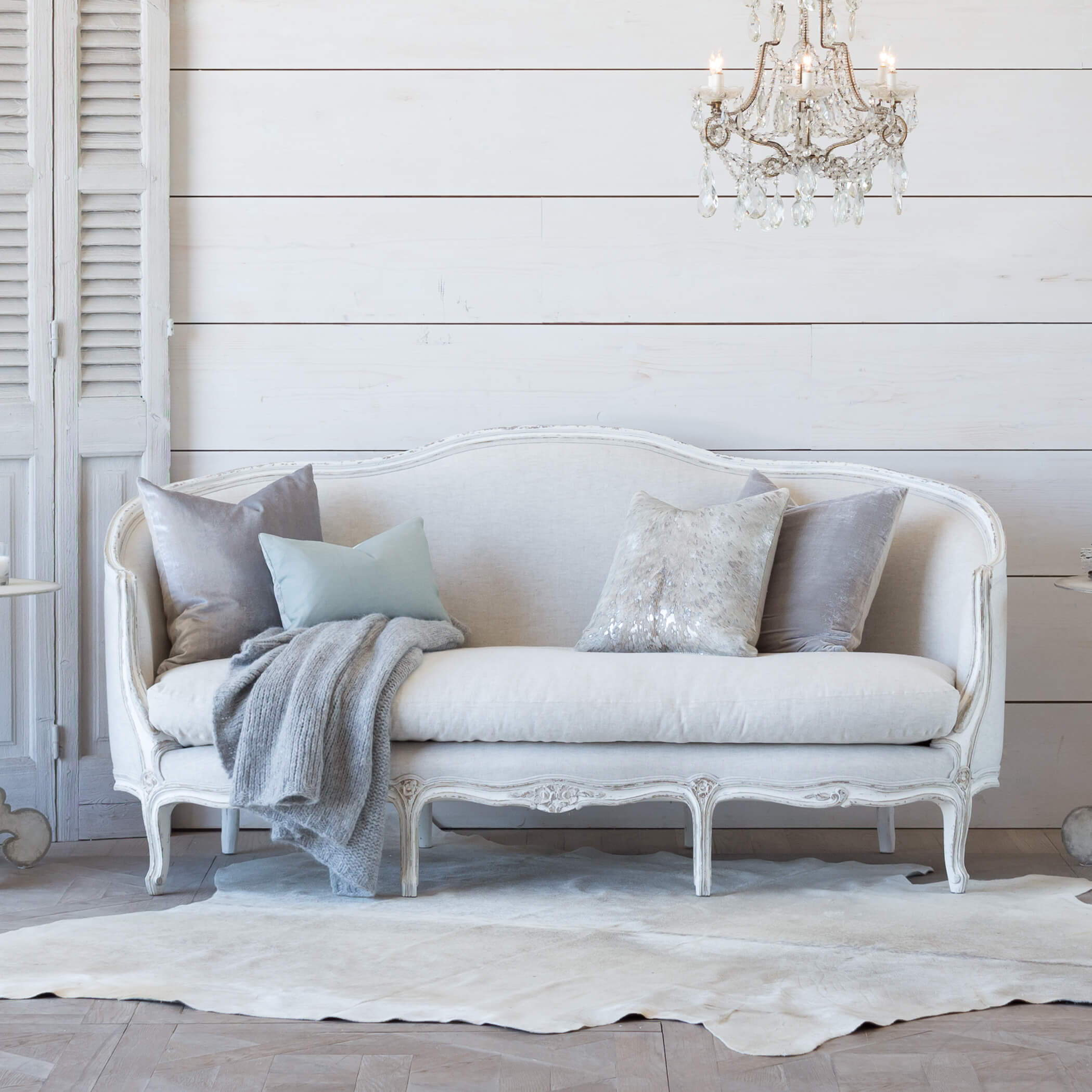 545ef24ff2231 Eloquence® Seraphine Canape Sofa in Fog Linen and Gesso and Oyster Finish