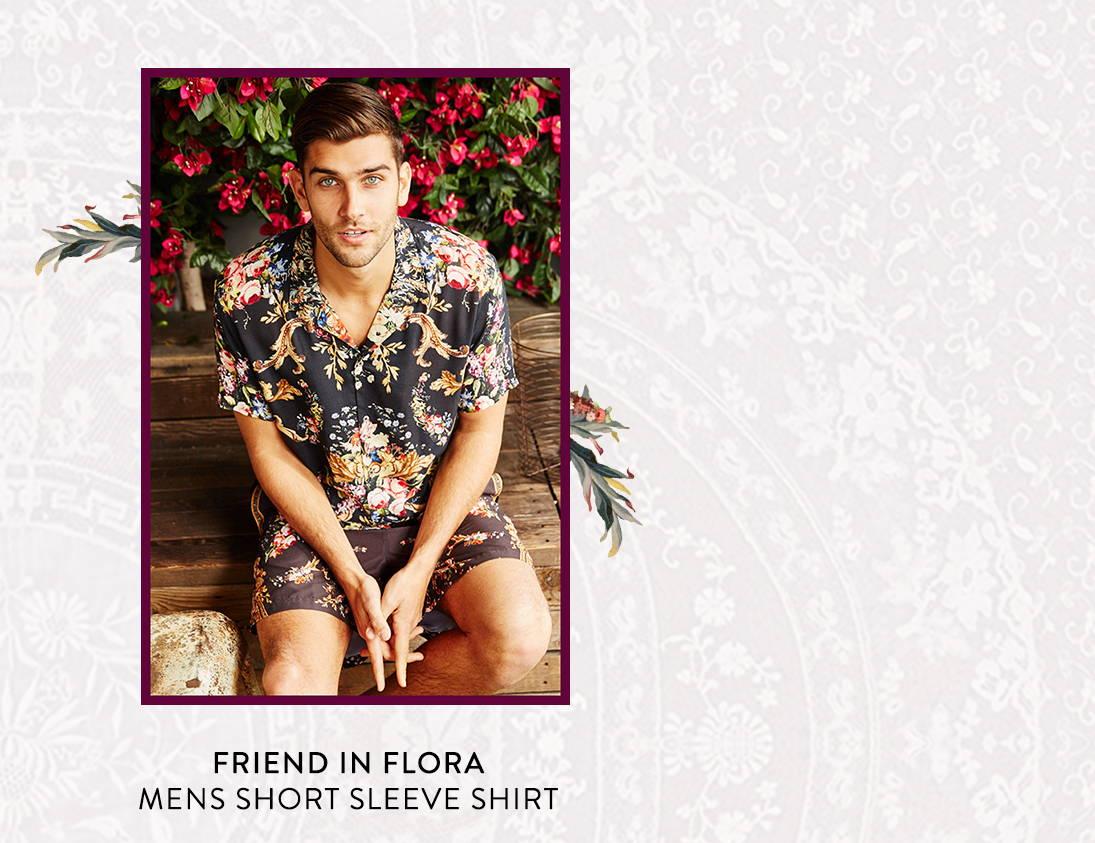 Shop Friend In Flora Mens Short Sleeve Shirt