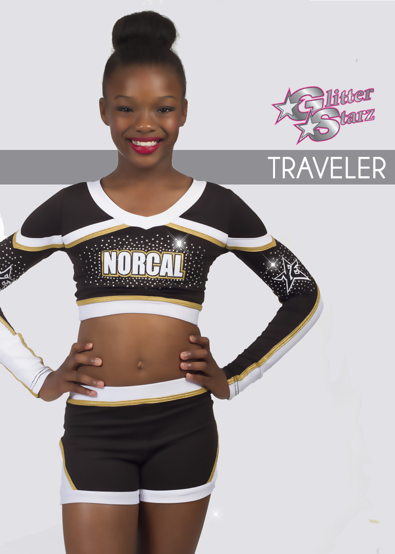 glitterstarz custom bling uniforms traveler black gold white rhinestones  for cheer dance a1c25804c