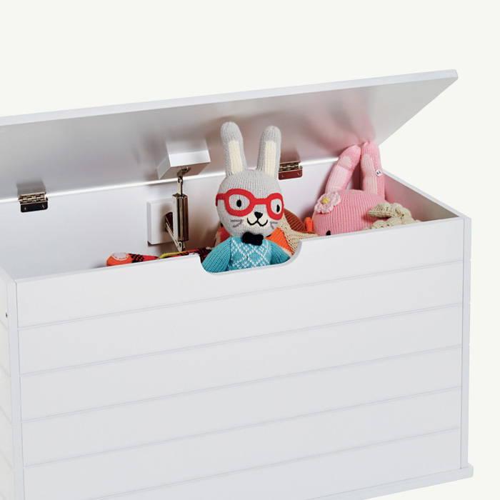 White wooden toy storage box
