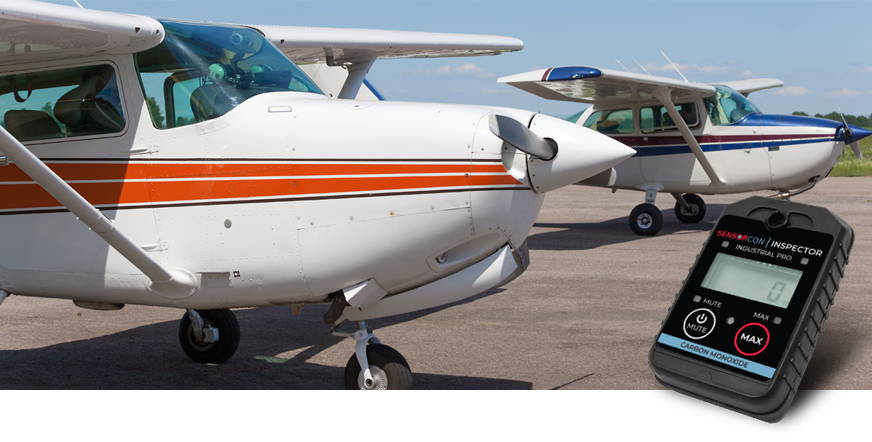 Single engine airplane with CO Inspector