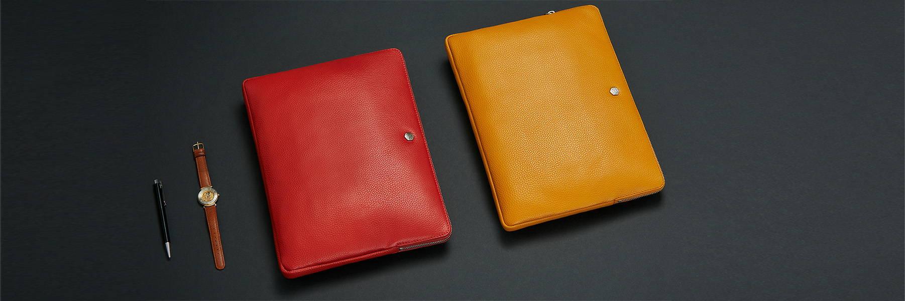 colourful leather laptop folders