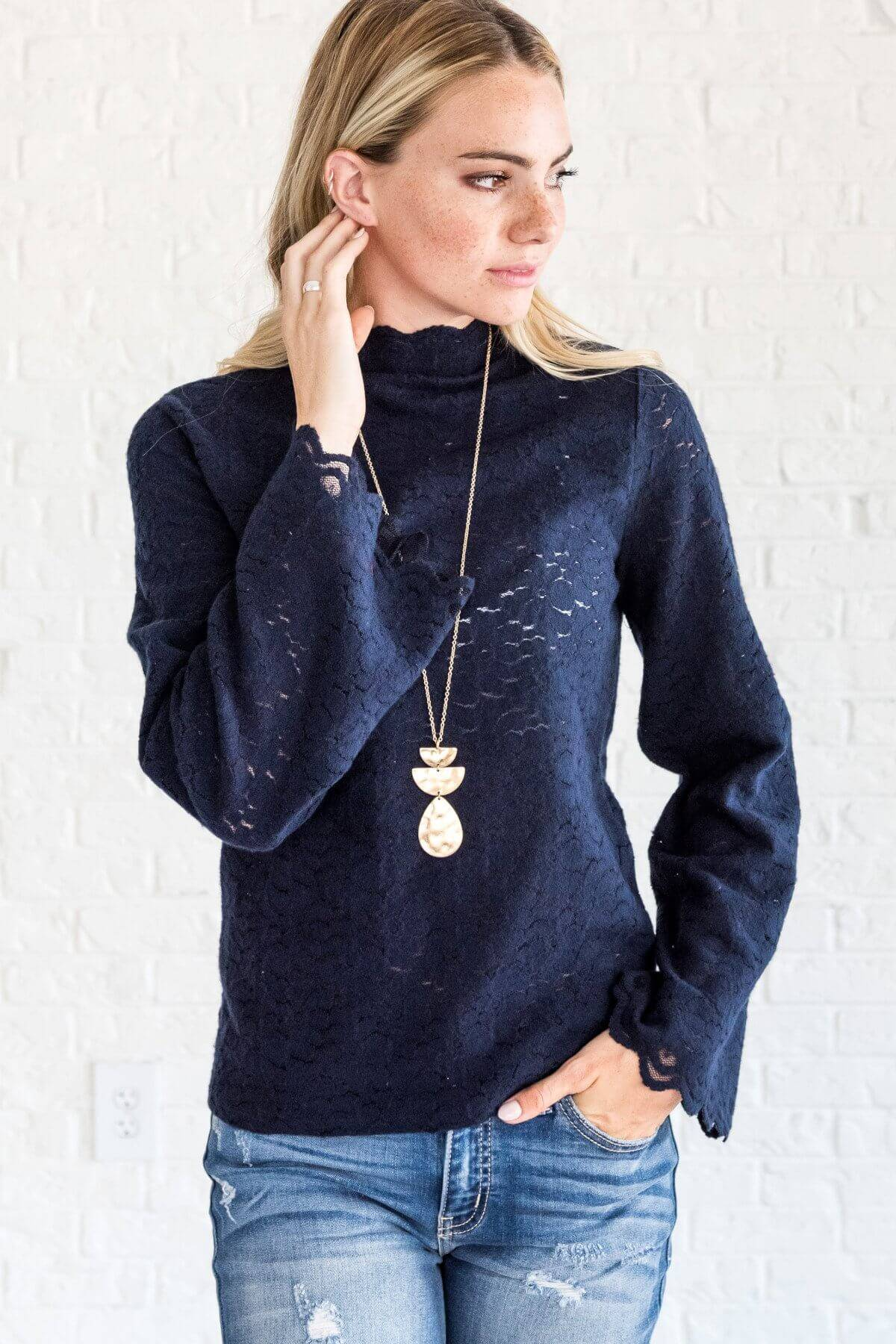 Navy Blue Lace High Neck Bell Sleeve Boho Tops for Women