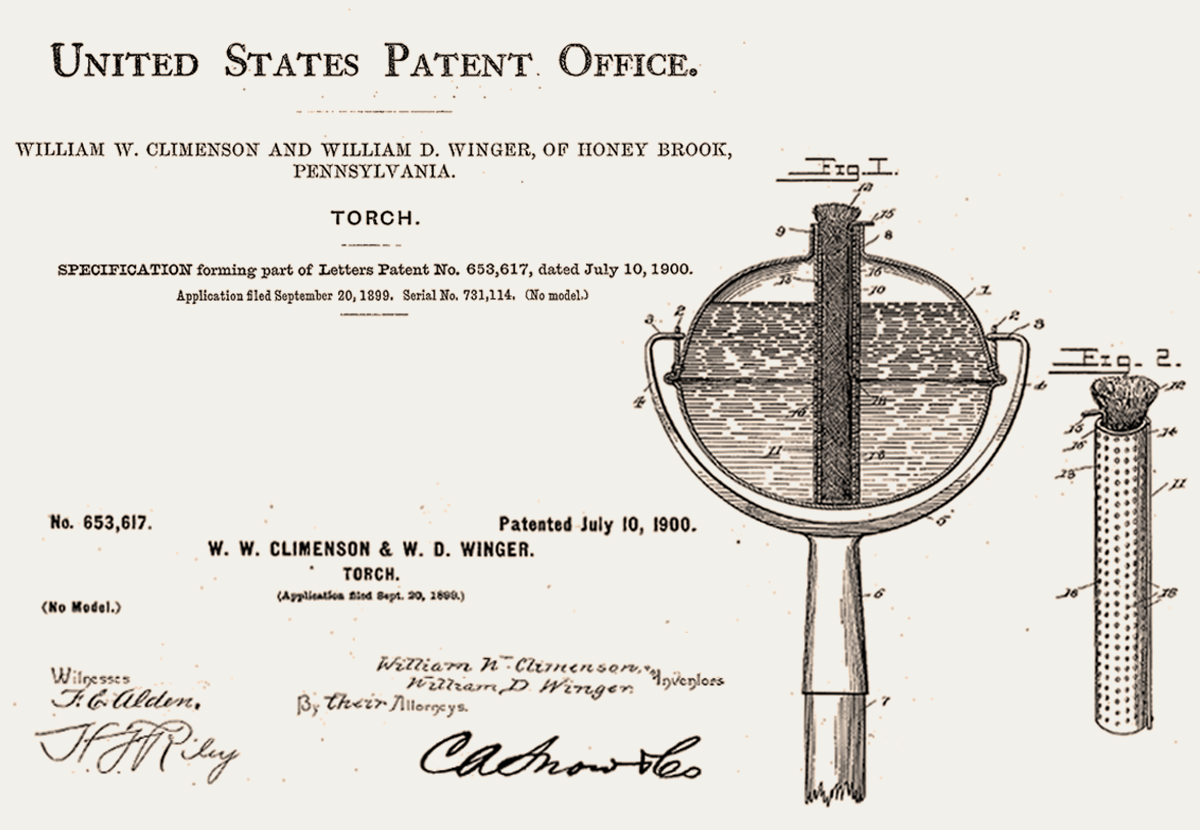 Original patent drawing of a tin torch