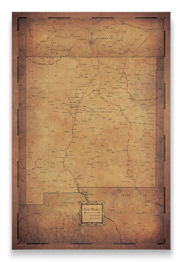 New Mexico Push pin travel map golden aged