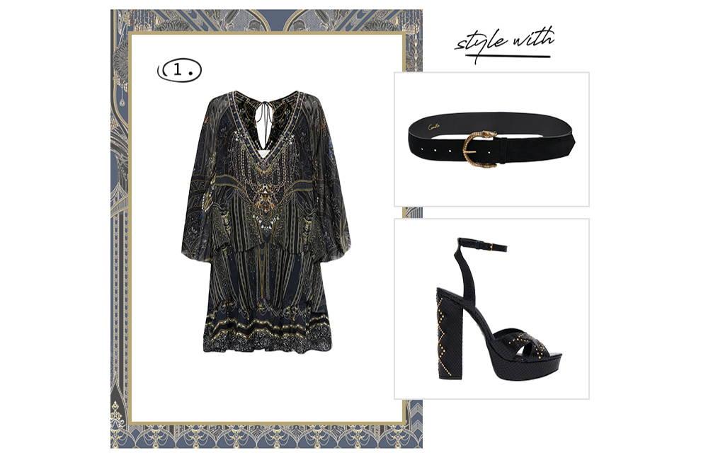 CAMILLA layered mini dress with black belt and heels