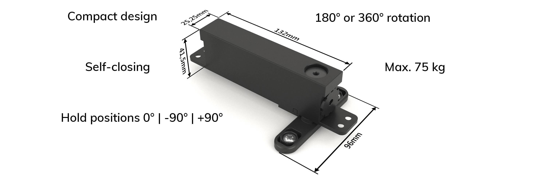 Compact self-closing pivot hinge system
