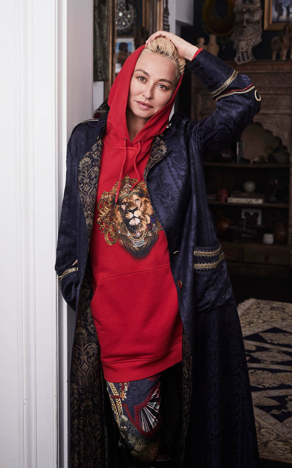 CAMILLA Franks wearing camilla red hoodie with tiger and jacket