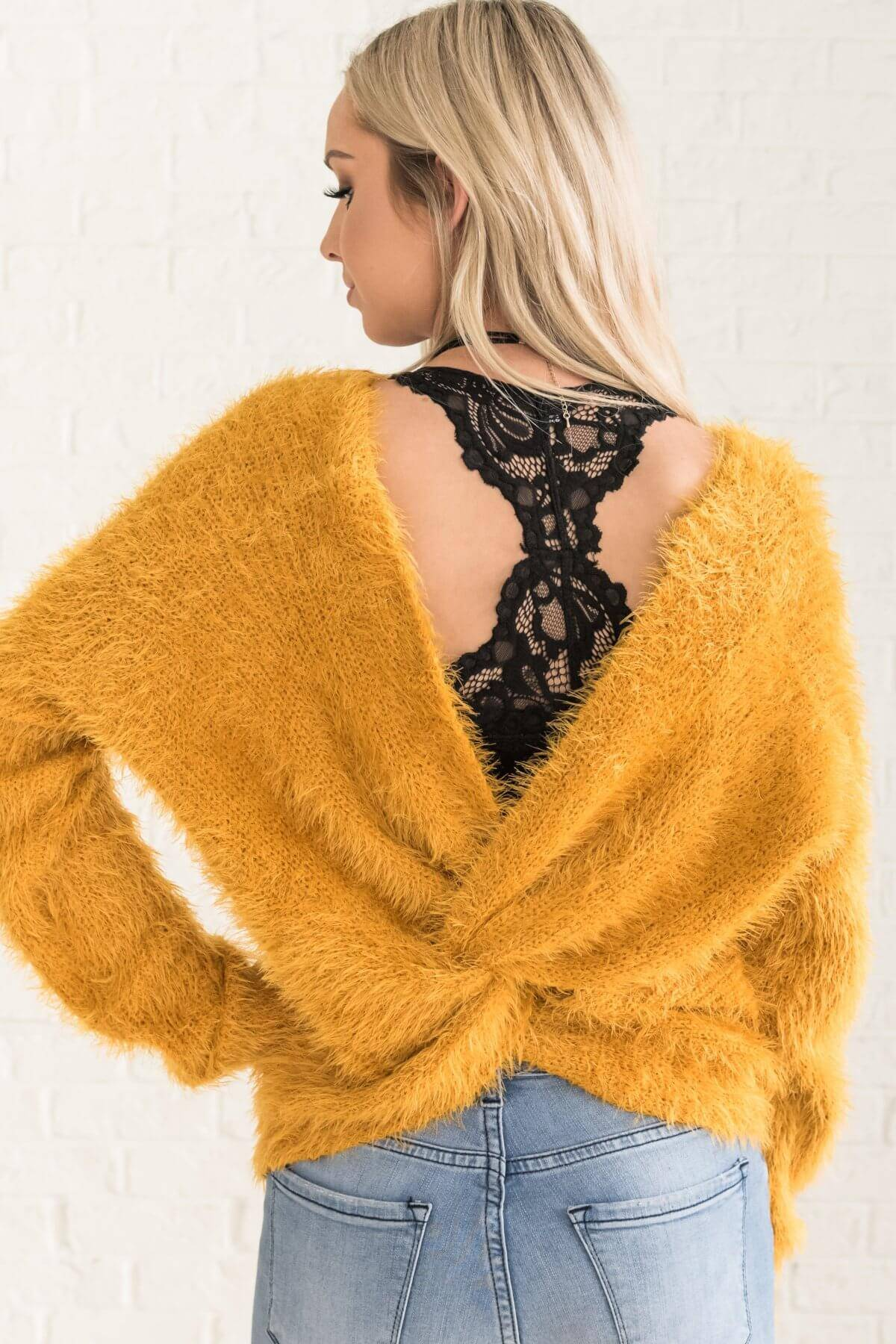 Yellow Fuzzy Eyelash Knit Sweater with Twist Infinity Knot Open Back