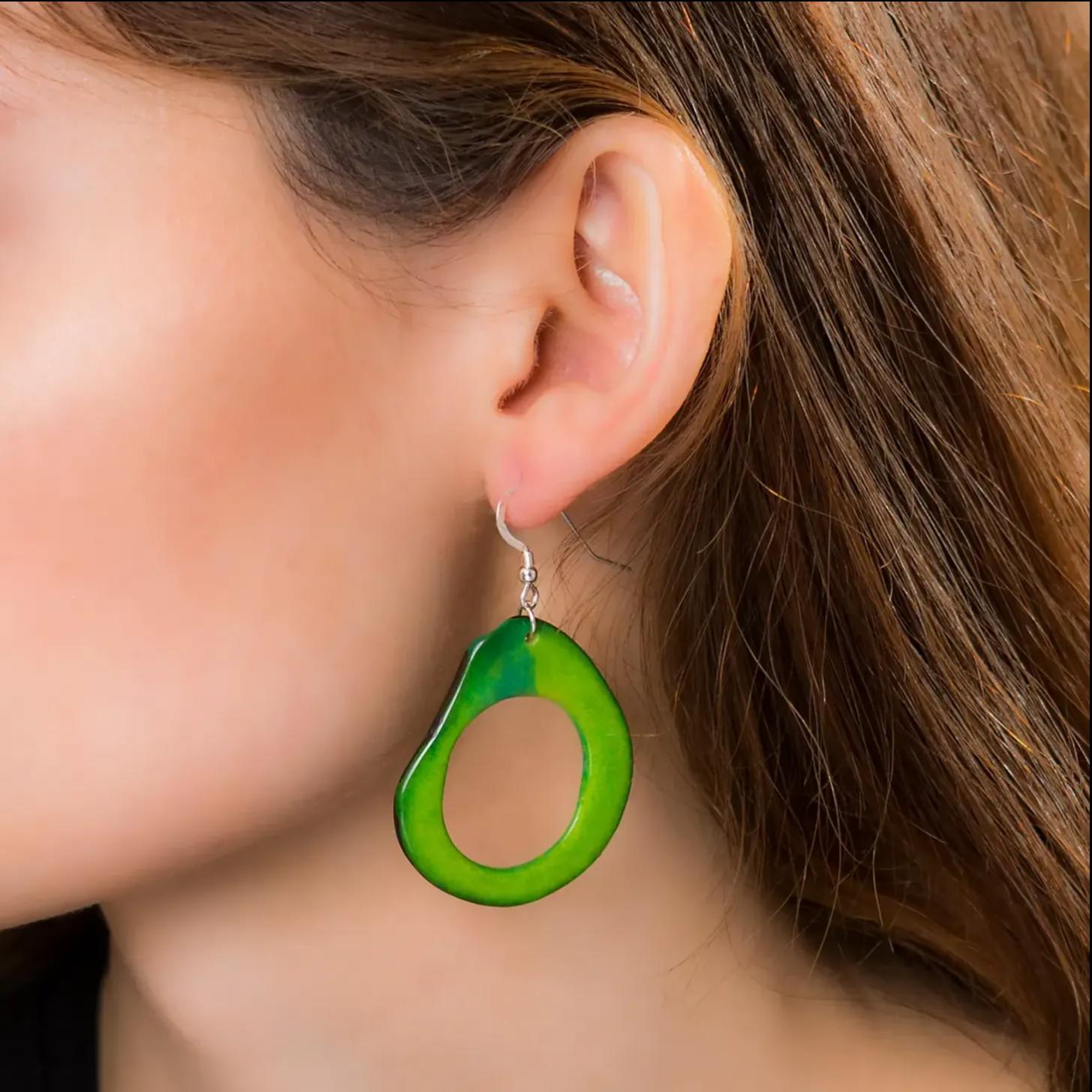 Green loop  tagua earrings
