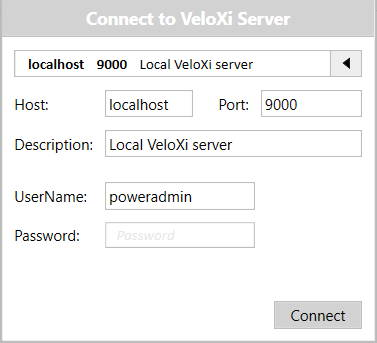 Connect to VeloXi Server
