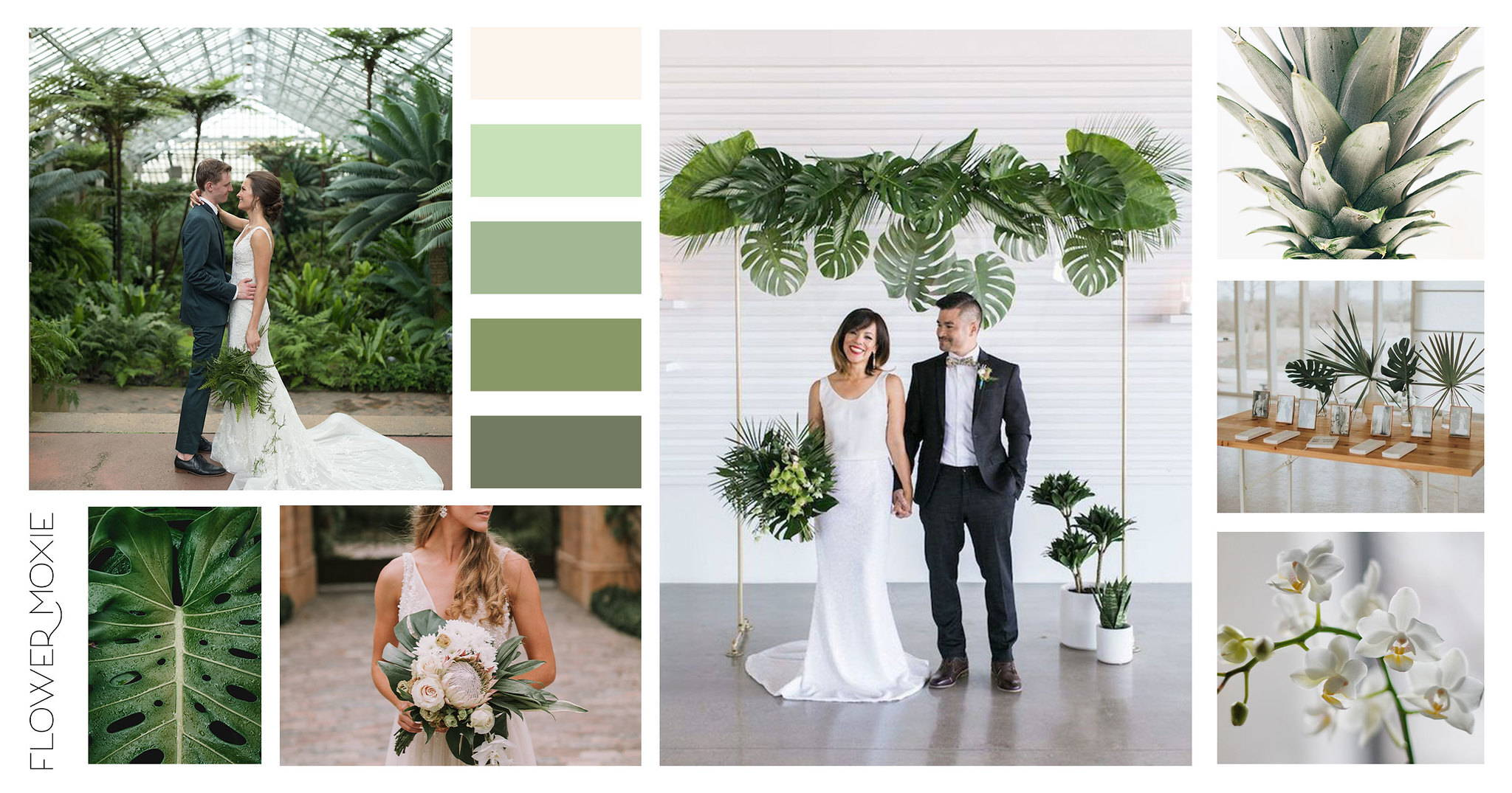 Tropcial minimalism wedding flower pacakges DIY
