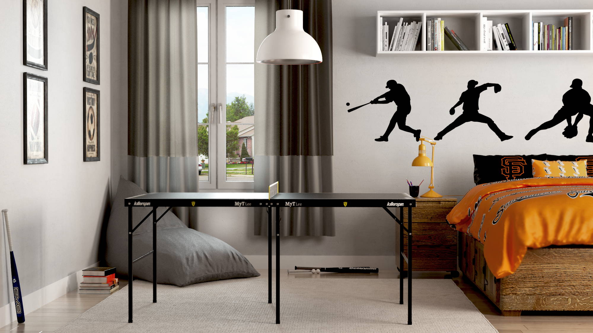 MyT Small Ping Pong Table Bruce Lee Edition in Bedroom