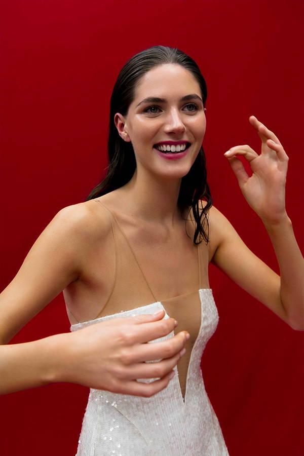 Galvan London White Paillettes V Neck Bridal Dress