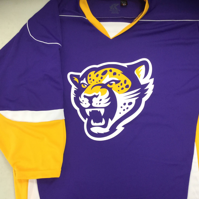 Custom Screen Printed Hockey Jerseys: Jaguars (Kobe XJ6 Purple/Gold/White)