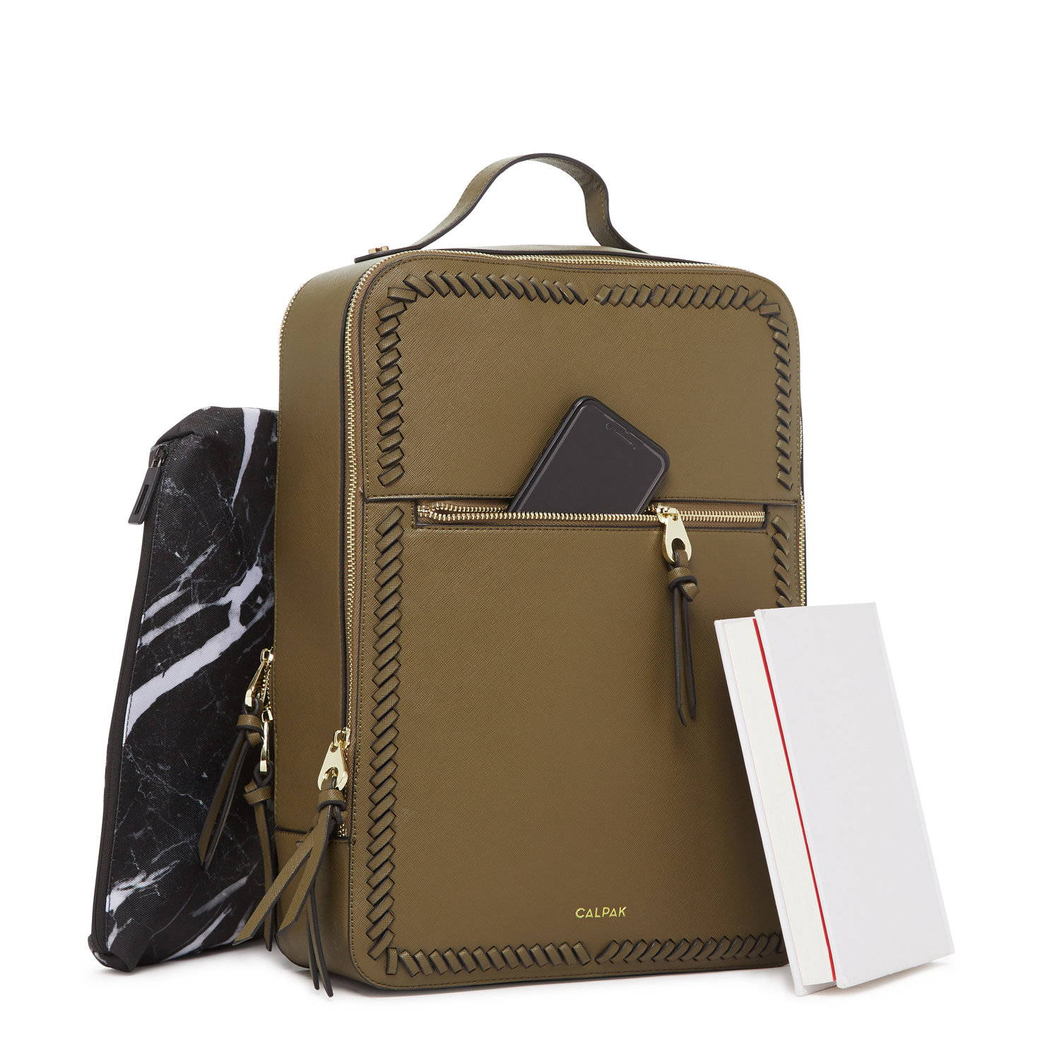 CALPAK Laptop Backpack in Olive.