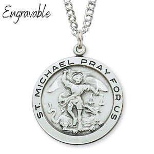 St. Michael Pendant Circular Sterling Silver