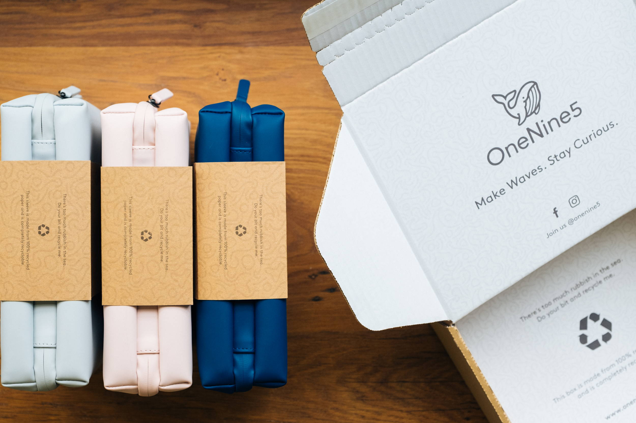 For our OneNine5 toiletry bag, we've kept the packaging simple.  All our packaging is biodegradable, recyclable or made from recycled materials