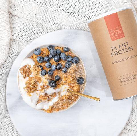 Oatmeal with Blueberries and Plant Protein