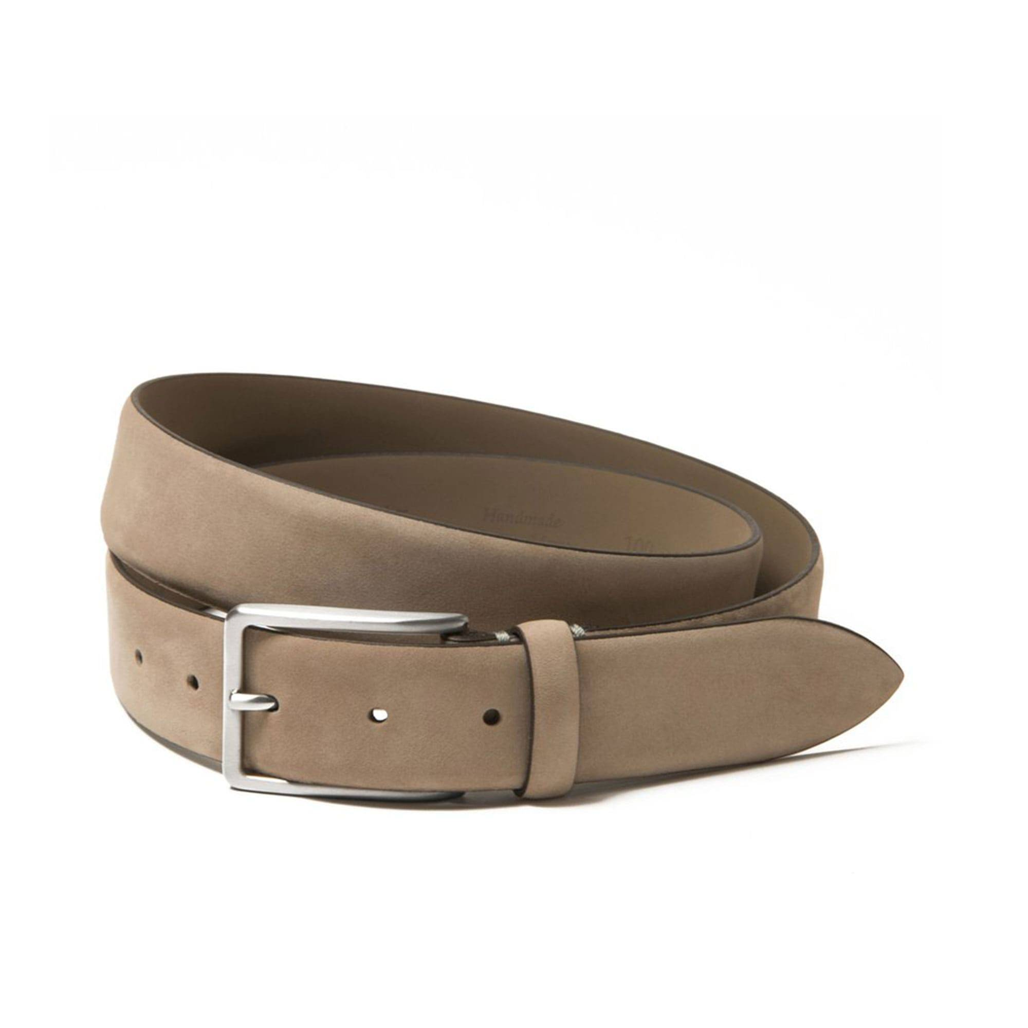 Luca Faloni Beige Nubuck Leather Belt Made in Italy