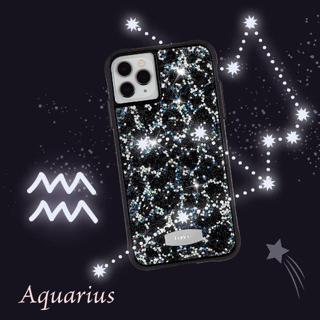 A bedazzled phone case with leopard print on an iphone for Aquarius