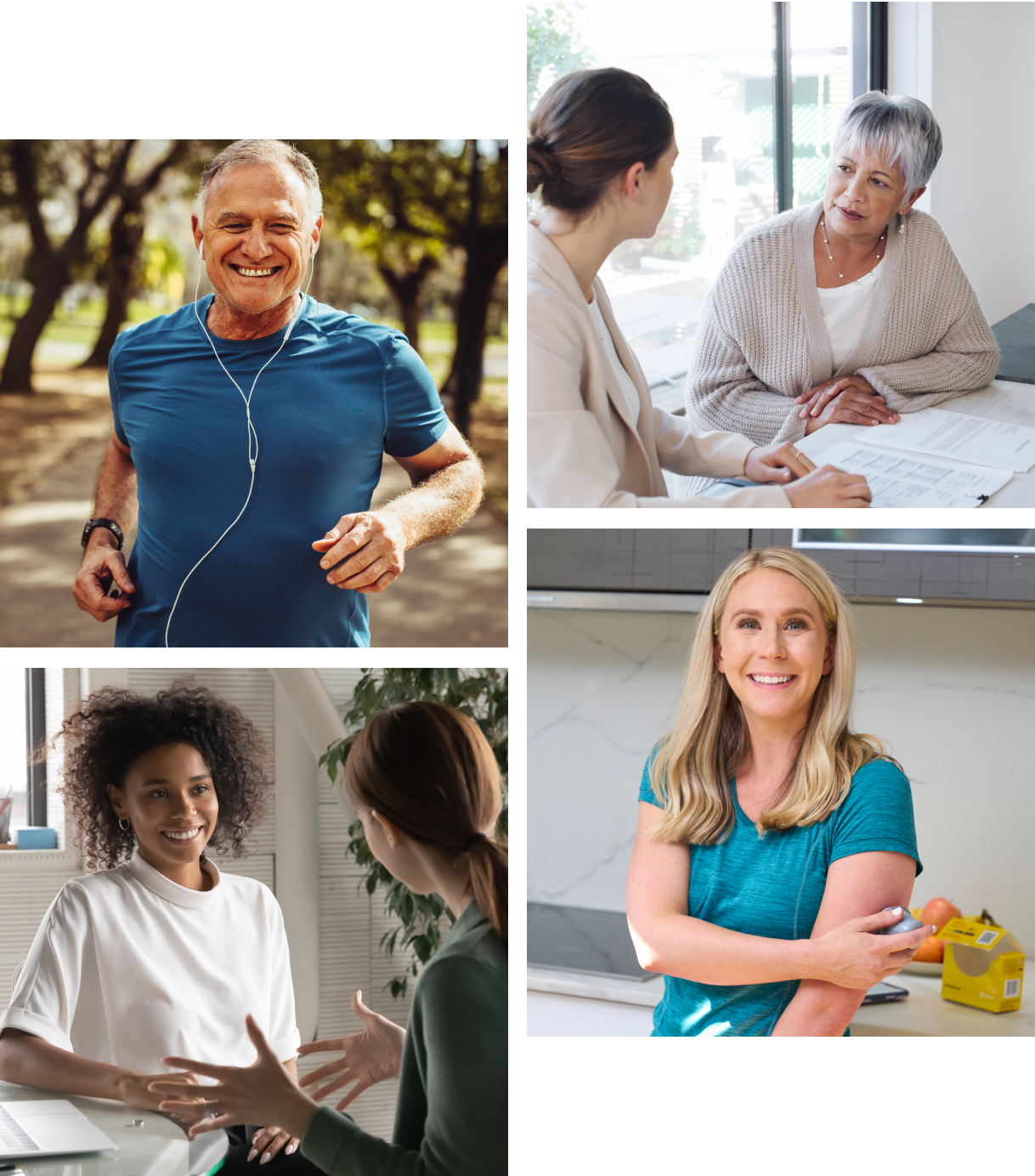 collage photo of partners and healthy activities