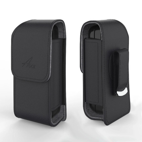 Alcatel go flip 3 leather Case vegan Holster Pouch with Metal Belt Clip