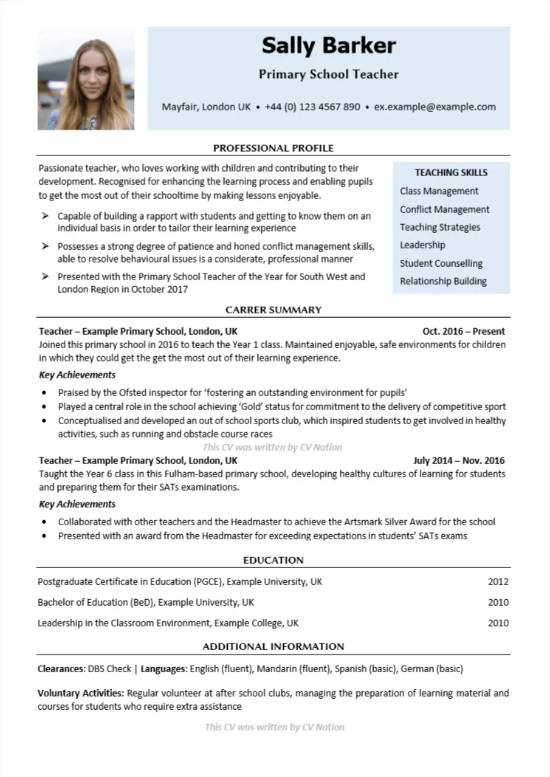 how to write a cv for primary teaching