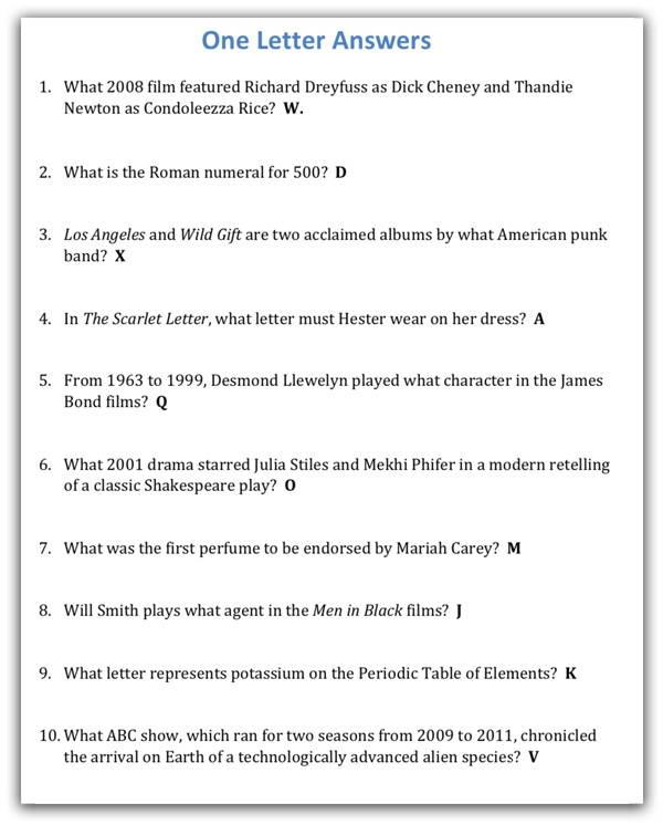 Unique Quiz Night Category Ideas - 1-Letter Answers