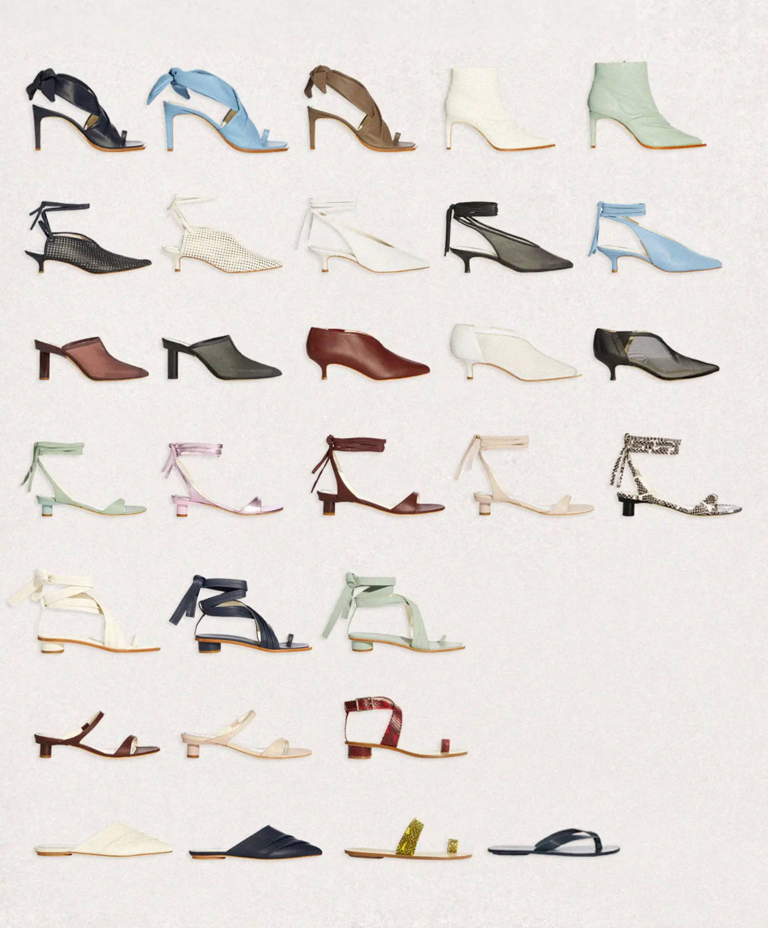 5 rows of Spring 2019 shoes. Featuring sandals, mules and boots.