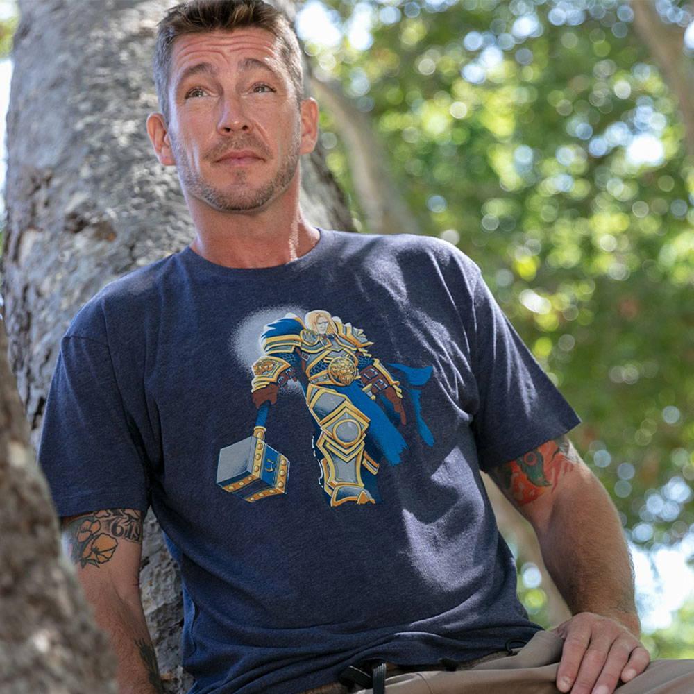 Photo of a male model wearing a World of Warcraft shirt