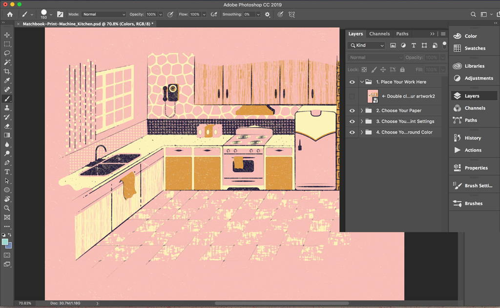 Move your work from Adobe Illustrator to Adobe Photoshop.