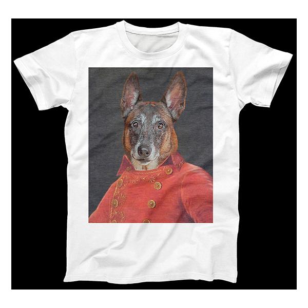 colonial dog art on human body on shirt