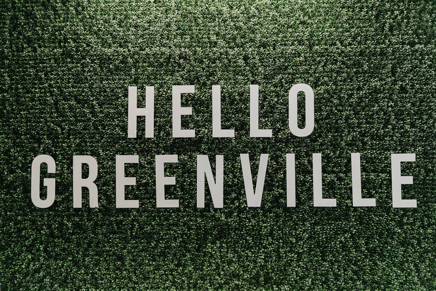 Hello Greenville sign at Dress Up in Greenville, South Carolina