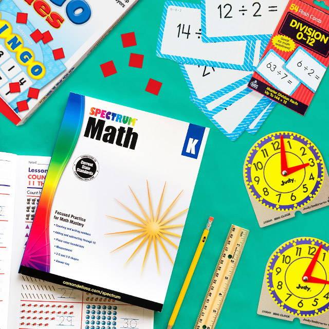 Math Workbook, Judy Clocks, Math Bingo Game, and Division Flash Cards