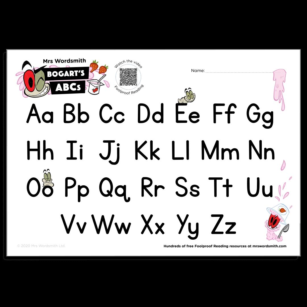 Alphabet letters activity chart
