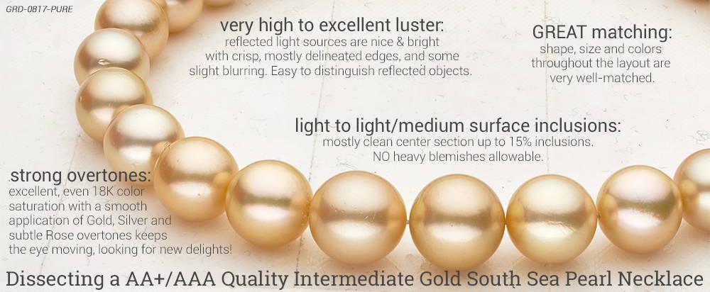 Intermediate Grade Golden South Sea Necklace AA Plus AAA