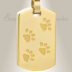 Gold Plated Walking Along Pet Cremation Pendant