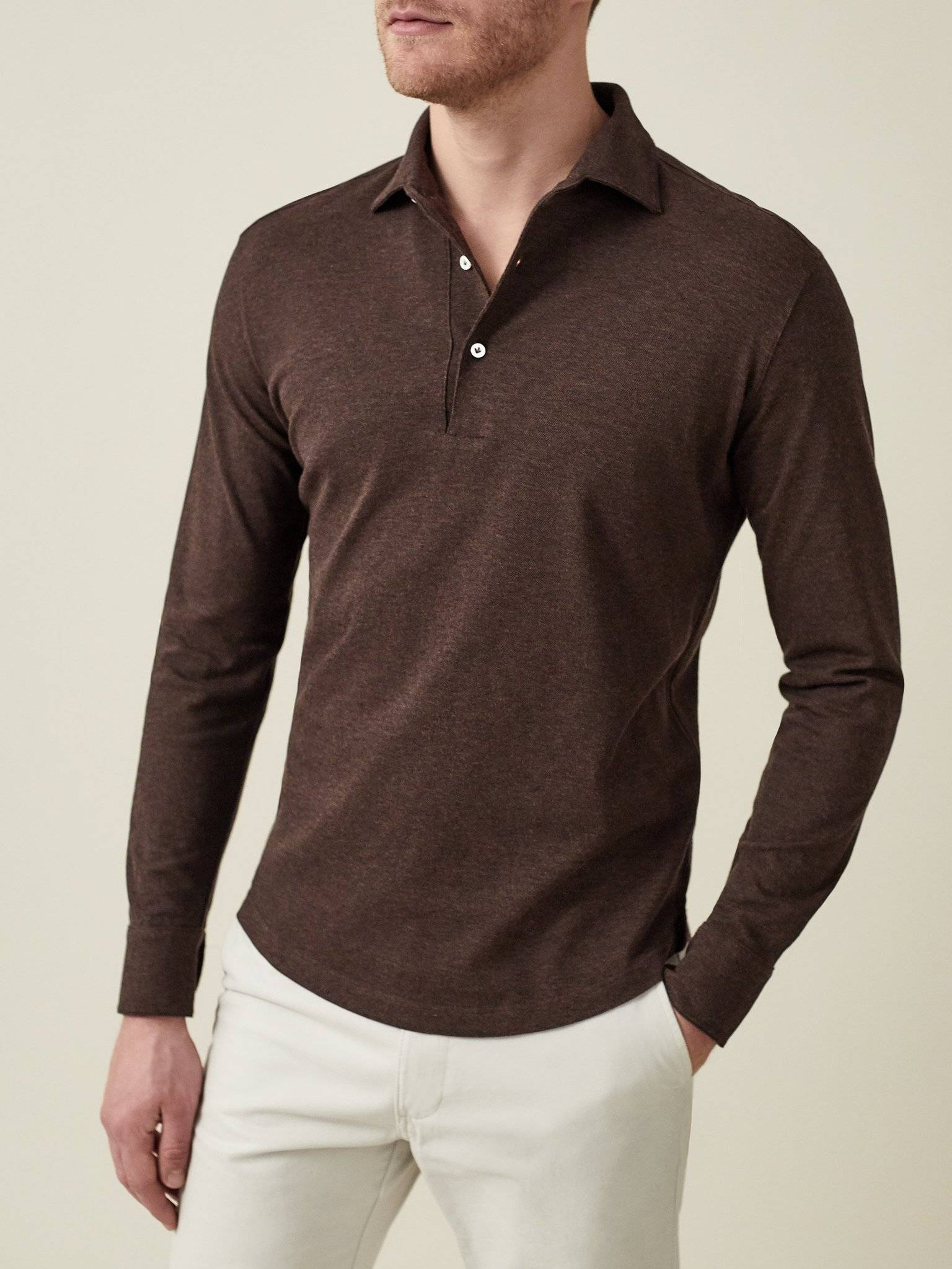 Luca Faloni Brown Long Sleeve polo shirt Made in Italy