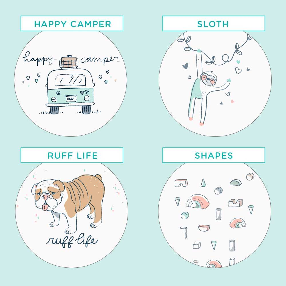 Pampers Pure Protection, Happy Camper, Sloth, Dog, Shapes Prints