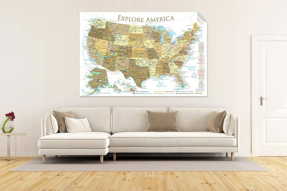usa map wall decal