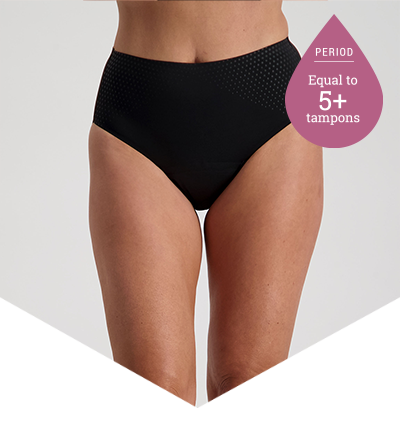 Period Panties - 5+ Tampons Worth - High Cut Black - Just'nCase by Confitex