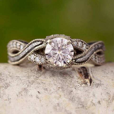 Moissanite Engagement Ring with Meteorite Twist