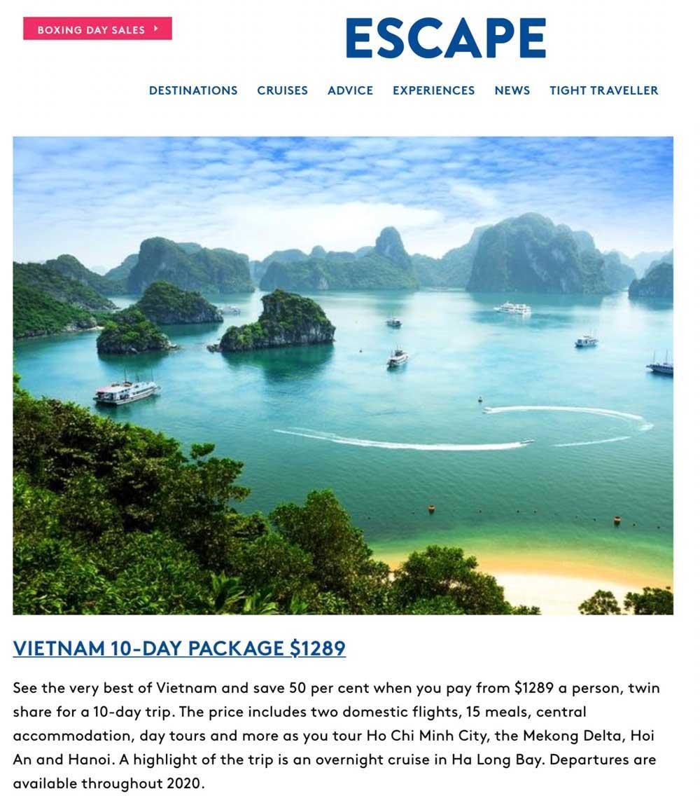 Travelbay in the Media - Escape - Vietnam Tours 10 Day