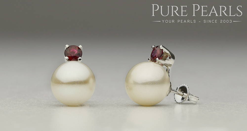 Custom Design Akoya Pearl and Ruby Stud Earrings
